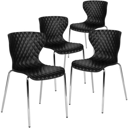 Flash Furniture 4 Pk. Lowell Contemporary Design Black Plastic Stack Chair ()