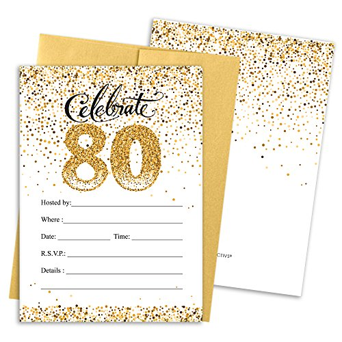Black and Gold 80th Birthday Party Invitations with Envelopes, 25 Count
