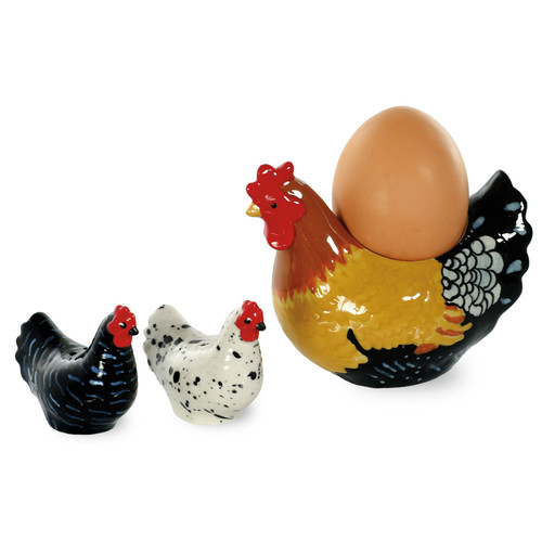 Boston International Spatter Hens 3 Piece Egg Cup, Salt and Pepper Set by Boston International