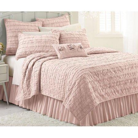 Lauren Conrad Pink Blush Twin Twin Xl Ruffled Quilt Ellie Cotton