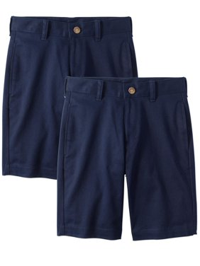Wonder Nation Boys School Uniform Super Soft Flat Front Shorts, 2-Pack Value Bundle, Sizes 4-16