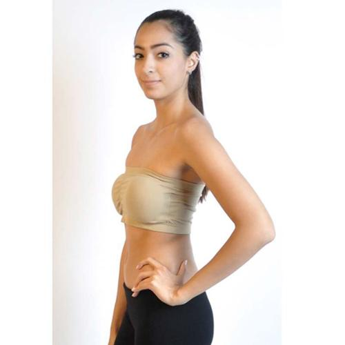 Junior Bandeau Strapless Tube Top with Pad (One Size Fits All) - Khaki