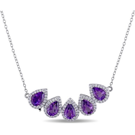 Tangelo 3-3/4 Carat T.G.W. African Amethyst and White Topaz Sterling Silver Flower Teardrop Two-in-One Necklace, 18