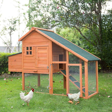 Kinbor 67in Wooden Backyard Chicken Coop Hen House Poultry Cage