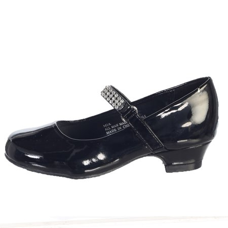 Children's Occasion Shoes (Girls Black Rhinestone Strap Mia Occasion Dress Shoes Kids)