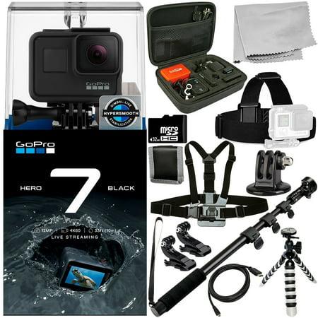GoPro HERO7 HERO 7 Black 12PC Accessory Bundle - Includes 32GB microSD Memory Card + Heavy Duty Monopod + Micro HDMI Cable +