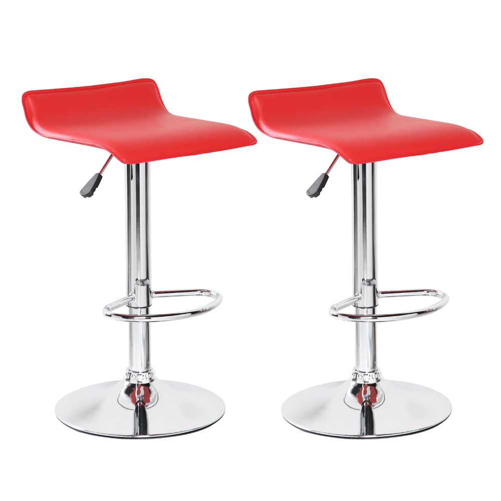 Bellezza© Bar Stool Leather Modern Adjustable Swivel Barstools Hydraulic Chair, Set of 2, Red