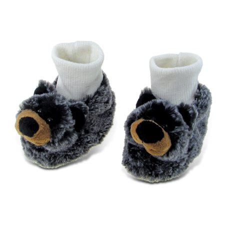 Bear Cub Shoes (Super Soft Plush Baby Shoes - Black Bear)