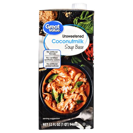 - (2 Pack) Great Value Unsweetened Coconut Milk Soup Base, 32 oz
