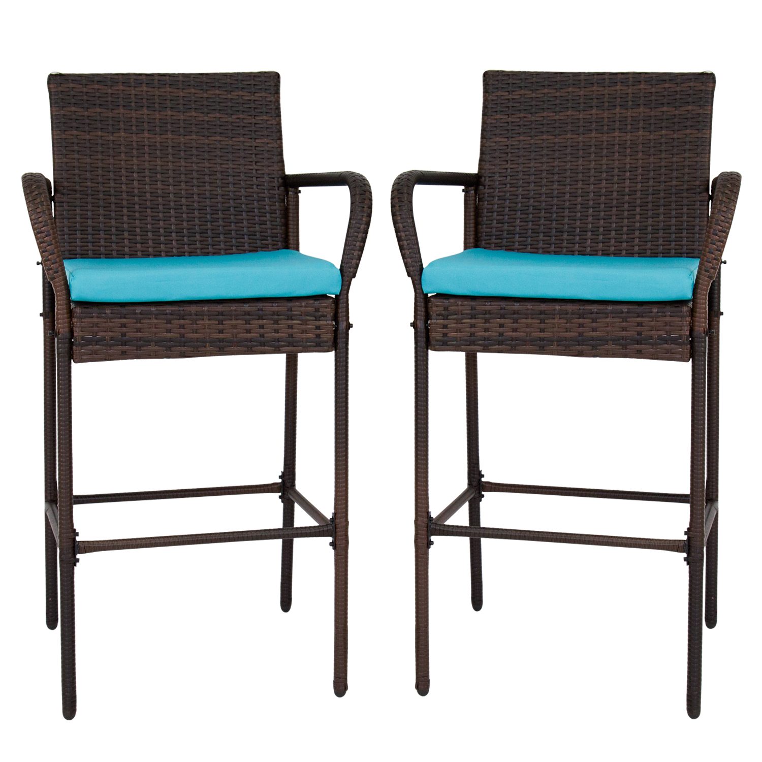 Kinbor Set Of 2 Patio Outdoor Wicker Barstool Set Pool