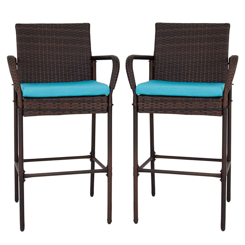 Kinbor Set of 2 Patio Outdoor Wicker Barstool Set Pool Furniture High Chair Brown w/Free Blue Cushions
