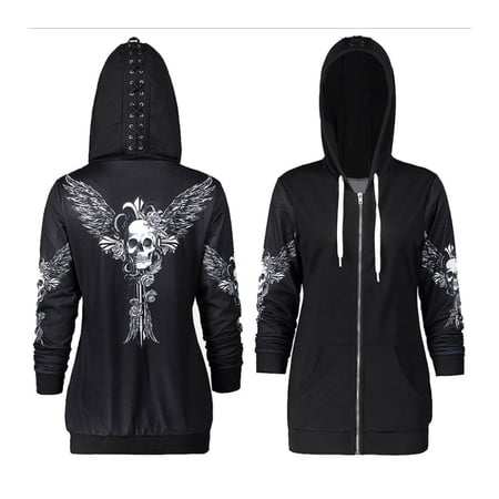 Women Punk Skull Wings Printed Long Sleeve Hoodies Sweatshirt Sports Coats for Halloween](X Wing Pilot Hoodie)