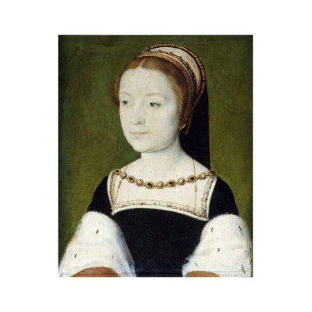 Portrait of Madeleine De France by Corneille De Lyon Print Wall Art - Halloween Lyon France