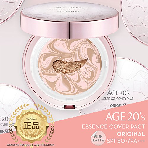Age 20's Compact Foundation Premium Makeup, Case + 1 Refill - Pink Latte Essence Cover Pact SPF50+ (Made in Korea) - Pink/Natural Beige (Color 23)