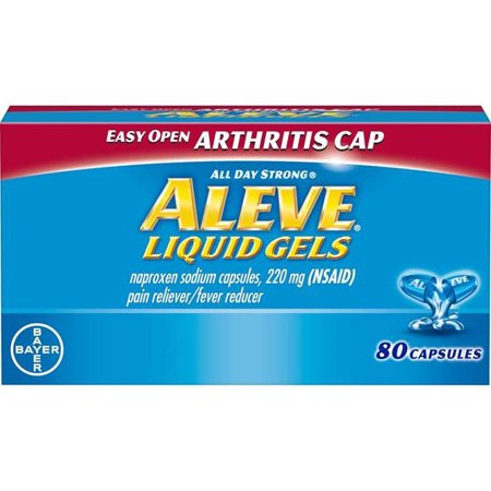 Aleve Easy Open Arthritis Cap Pain Reliever/Fever Reducer Naproxen Sodium Liquid Gels, 220 mg, 80 (Best Over The Counter Pills For Arthritis)