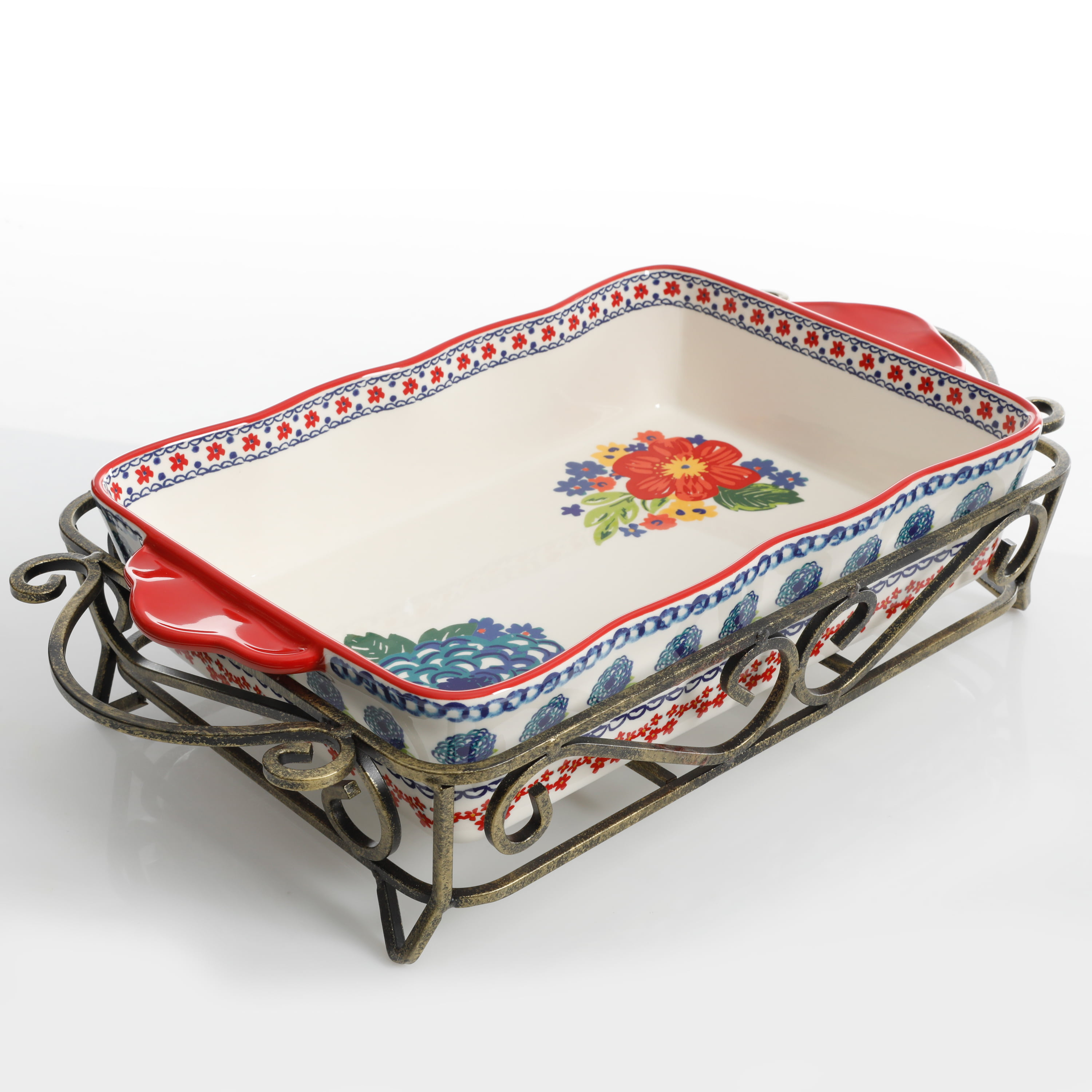 The Pioneer Woman Dazzling Dahlias 2-Piece Baker with Metal Rack *FREE SHIPPING*