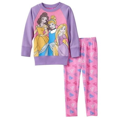 dd9b75516 Disney Toddler Girls Purple & Pink Princess Sweatshirt & Leggings 2 PC  Outfit