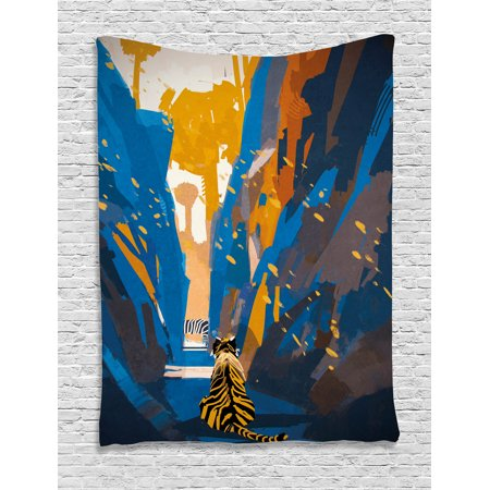 Fantasy Tapestry, African Tiger in City Streets Narrow Walls Digital  Wilderness Jungle Savannah, Wall Hanging for Bedroom Living Room Dorm  Decor,