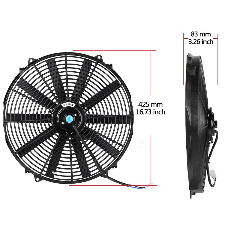 "16/"" INCH Push Pull ELECTRIC Cooling RADIATOR Fan reversible 3000cfm"
