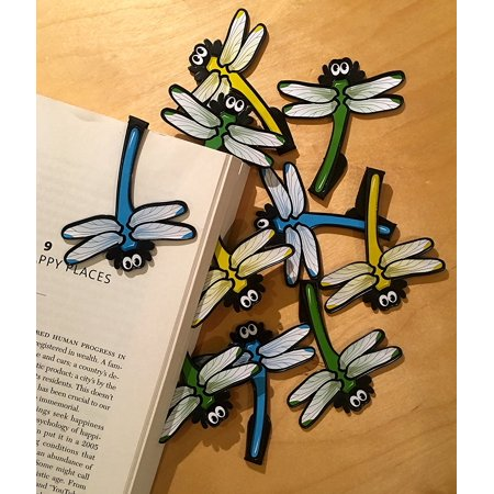 Dragonfly Bookmarks (Set of 10), Clip over the page Bookmarks (Set of 10 - assorted colors) By Reading Rewards Ship from US