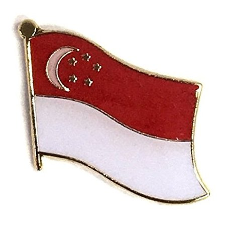 PACK of 3 Singapore Single Flag Lapel Pins, Singaporean Pin Badge