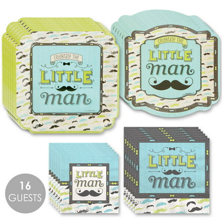 Dashing Little Man Mustache - Party Tableware Plates, Napkins - Bundle for 16