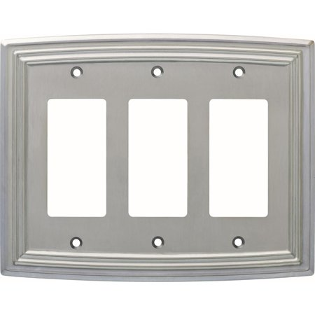 Liberty Emery Decorative Triple Rocker Switch Cover, Satin Nickel