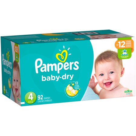 Pampers Baby Dry Diapers, Size 4, 92 Diapers–Walmart-Cash Back