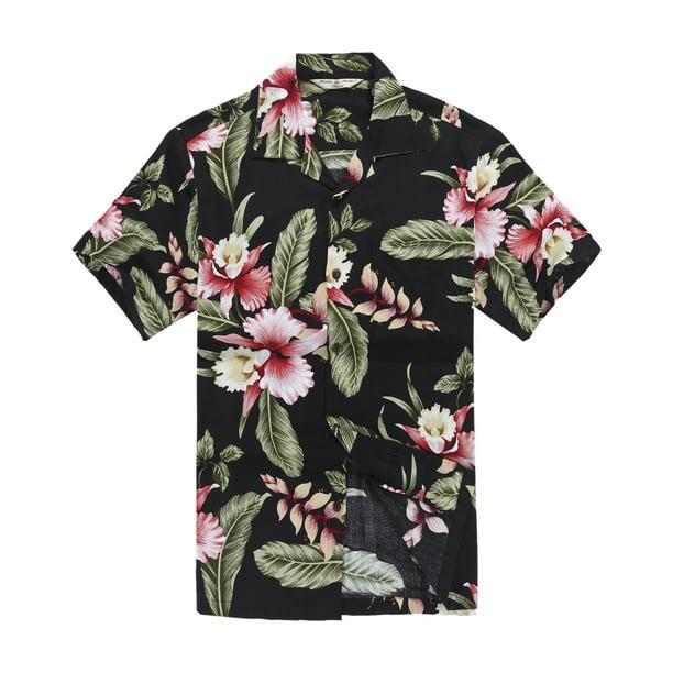 Men's Hawaiian Shirt Aloha Shirt XL Black Rafelsia Floral