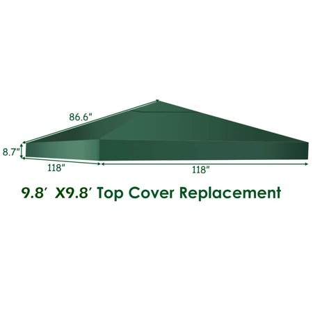Costway 9.8' x 9.8' Gazebo Top Cover Patio Canopy Replacement 1-Tier - image 7 of 9