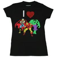 The Avengers (Marvel Comics)  Girls Juniors T-Shirt - I Heart Hulk Thor Iron Man