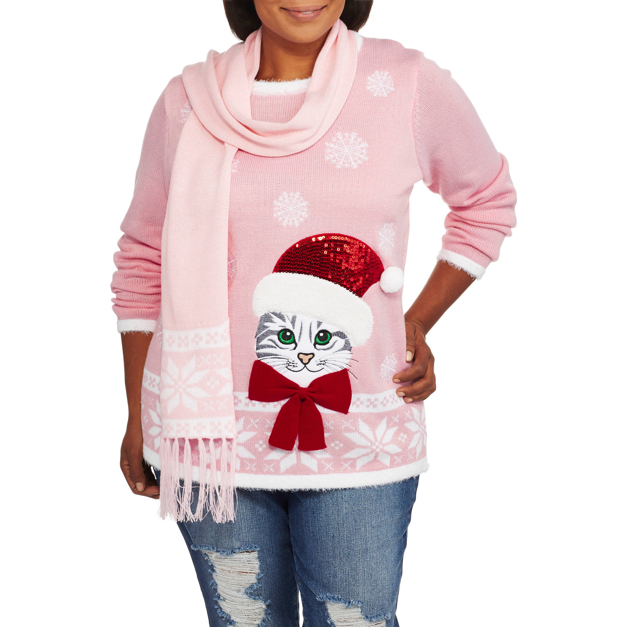 """Holiday Time Women's Plus Christmas Sweater with Scarf - """"KITTY CURIOUSITY"""""""