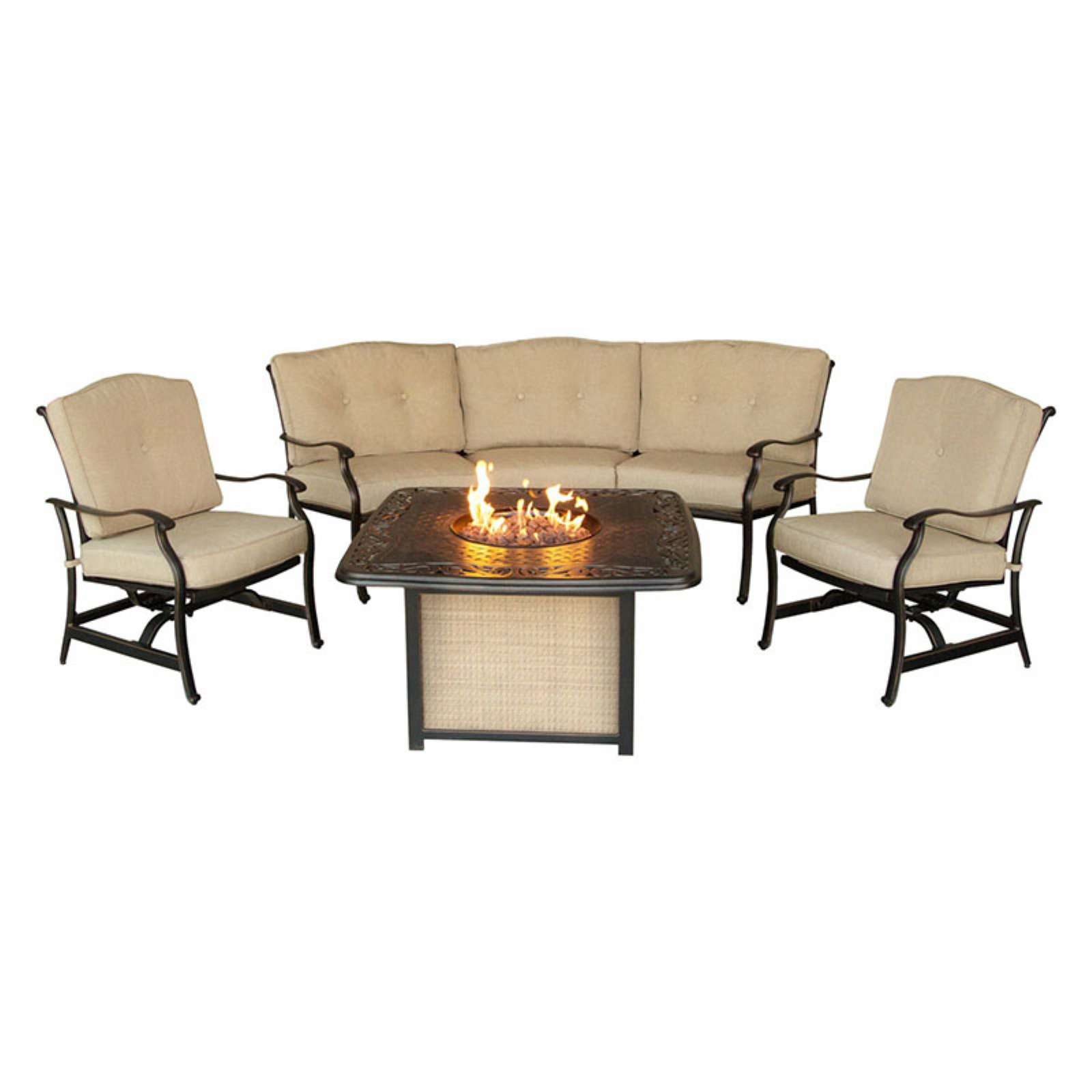 Hanover Outdoor Traditions 4-Piece Cast-Top Firepit Lounge Set, Natural Oat Bronze by Hanover Outdoor