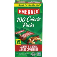 Emerald Nuts Cashews & Almonds with Dried Cranberries, 100 Calorie Packs, 10 Ct, 6.9 Oz