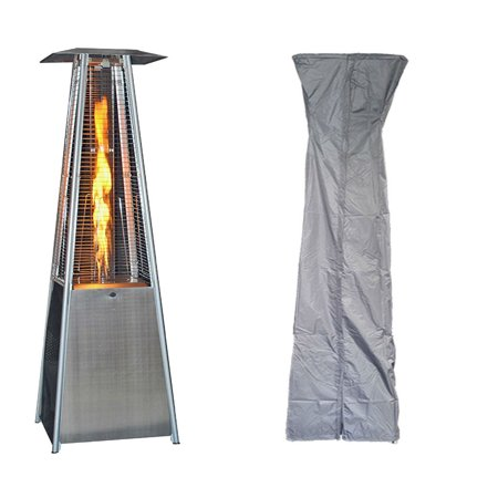 Image of SUNHEAT International Contemporary Square Design Portable Propane Patio Heater, Stainless Steel with Square Patio Heater Cover