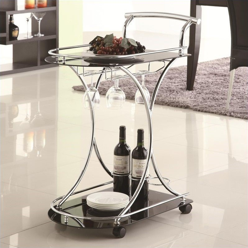 Coaster Serving Cart with 2 Black Glass Shelves by COA Prospective