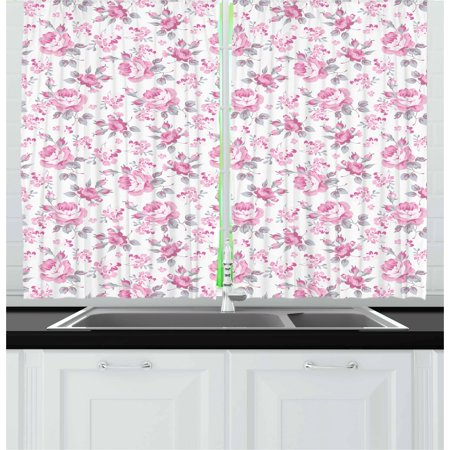 Shabby Chic Curtains 2 Panels Set, Pink Roses with Grey Leaves Garden Bedding Plants Spring Blossoms, Window Drapes for Living Room Bedroom, 55W X 39L Inches, Pale Pink White Grey, by Ambesonne