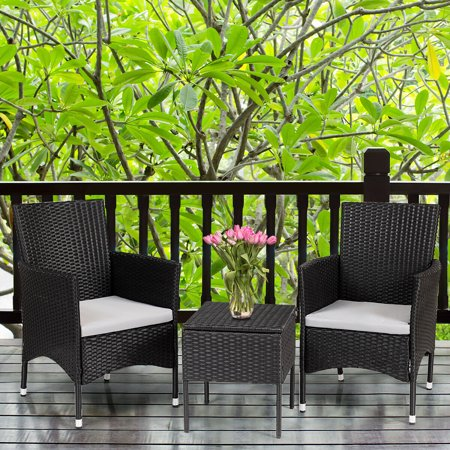 Gymax 2PC Patio Rattan Wicker Dining Chairs Set Black With 2 Set Cushion Covers - image 8 of 10