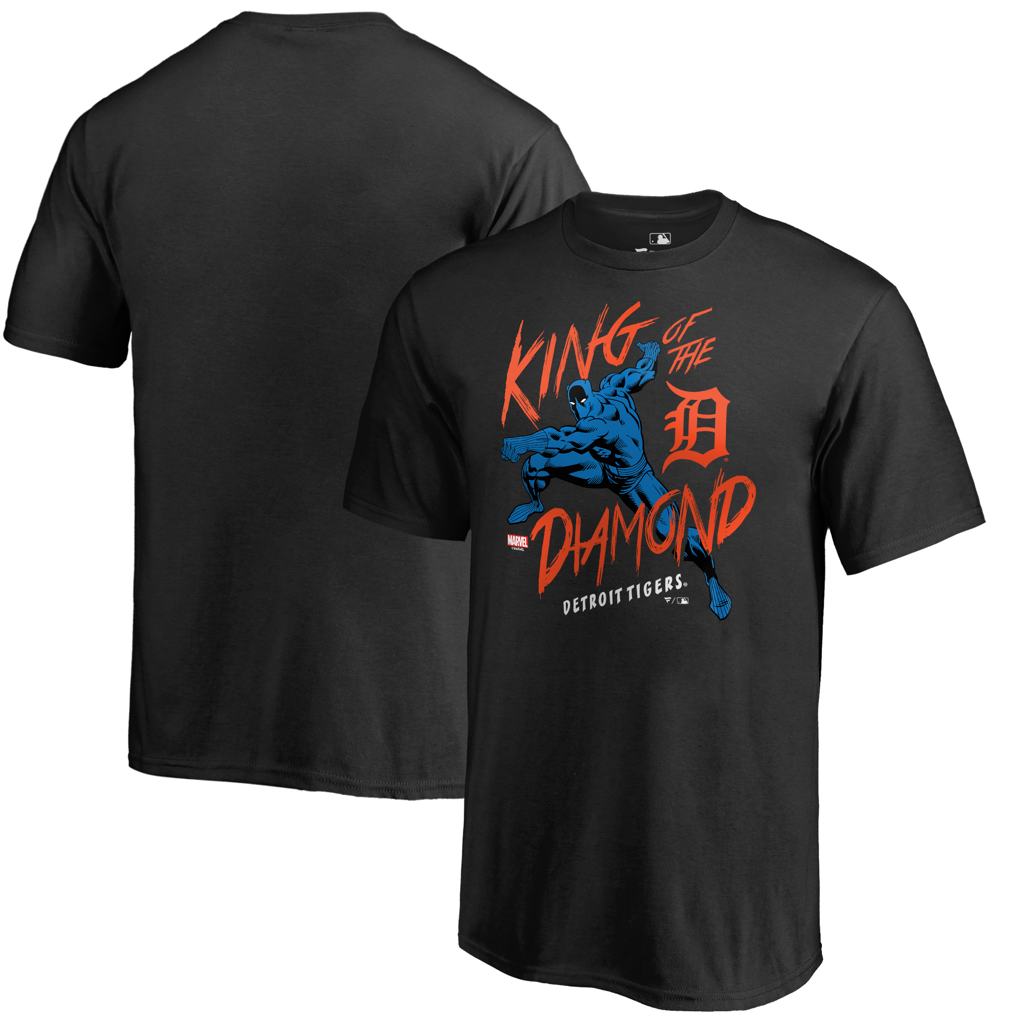 Detroit Tigers Fanatics Branded Youth MLB Marvel Black Panther King of the Diamond T-Shirt - Black