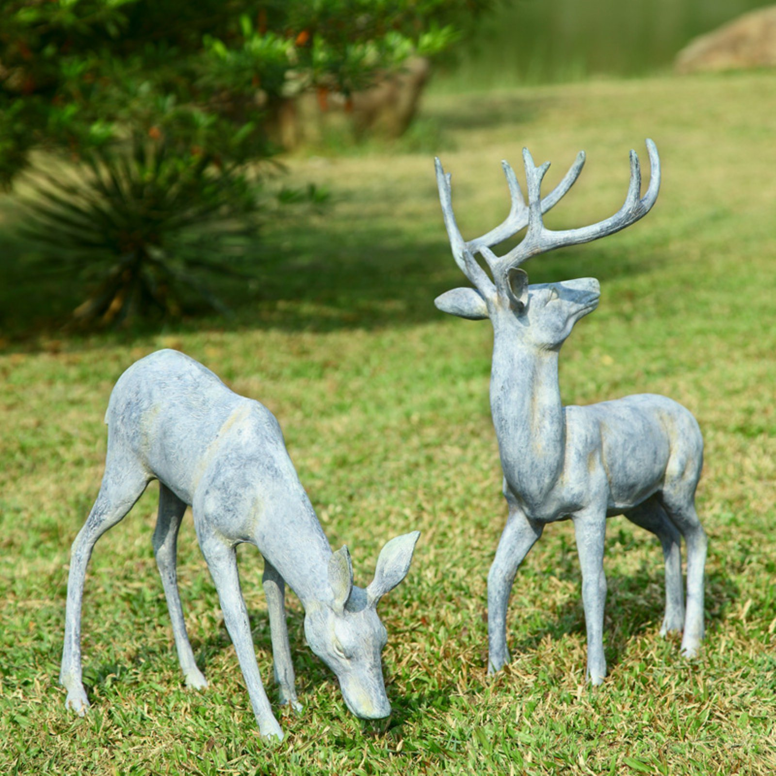 San Pacific International Garden Deer Statue - Set of 2
