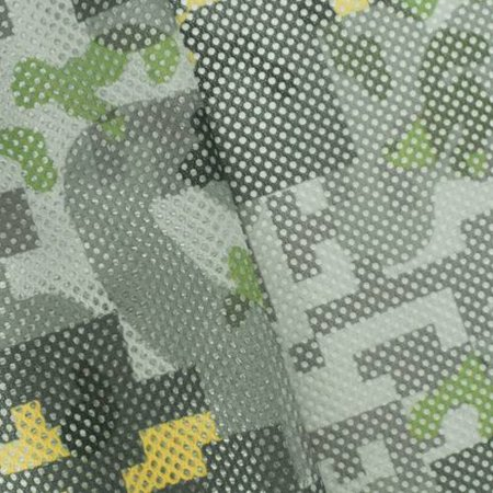 Green/Gray/Multi Abstract Camo Pixel Bonded Mesh, Fabric By the Yard