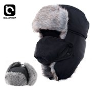 Winter Trapper Hat ,iClover Unisex Ushanka Hunting Hat Russian Trooper Ear Flap Chin Strap Hat with Windproof Mask-Keep Warm in Cold Weather.Black