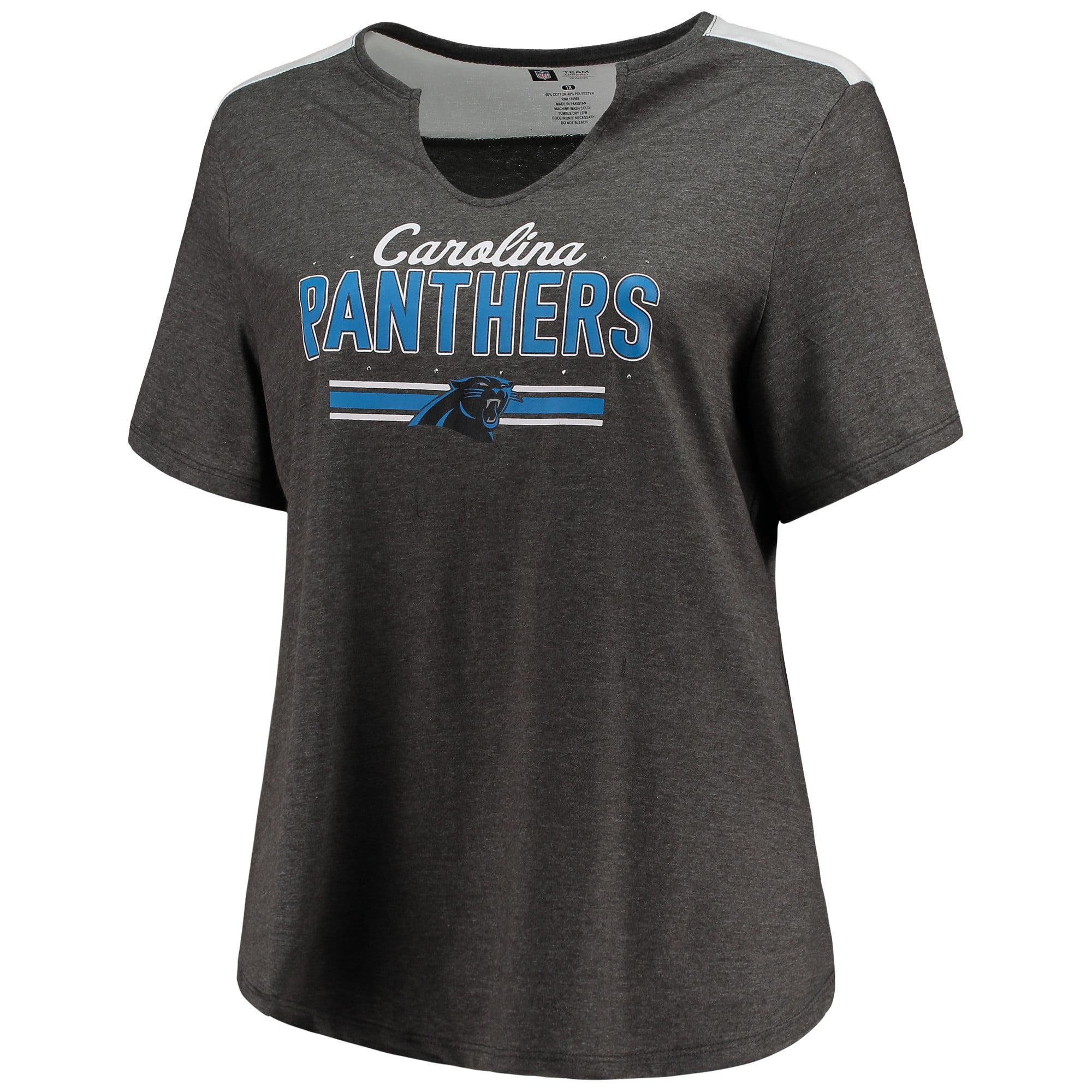 Women's Majestic Heathered Charcoal Carolina Panthers Notch Neck Plus Size T-Shirt
