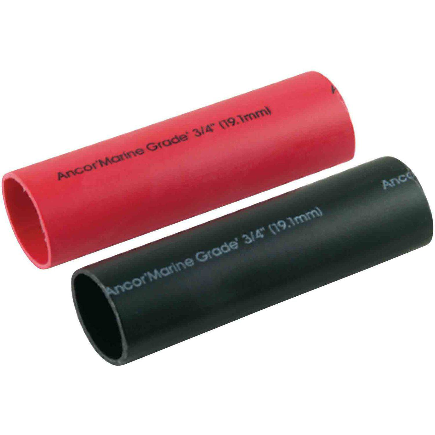 "Ancor Marine Grade Heat Shrink Heavy Wall Battery Cable Tube Combo Pack for 8-2/0, Includes one 3/4"" x 3"" Red and Black"