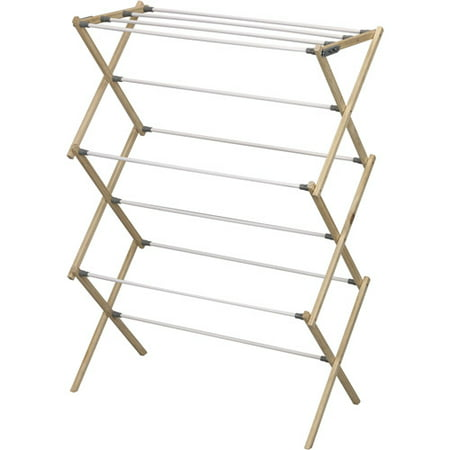 Extra Large Wood Rack - Household Essentials Pine Wood Foldable Drying Rack with 23.8' Drying Space
