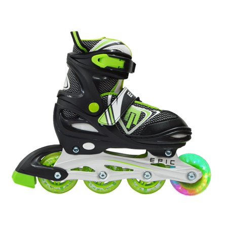 Epic Rage Adjustable Inline Roller Skates w/LED Light Up Wheels (Light Up Roller Skate Necklace)