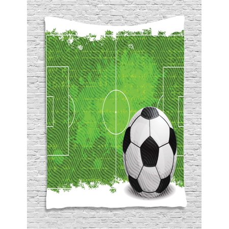 Soccer Tapestry, Grunge Worn Looking Pitch Pattern Football Six Yard Box Vintage Illustration, Wall Hanging for Bedroom Living Room Dorm Decor, 40W X 60L Inches, Green Black White, by Ambesonne ()