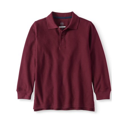 Boys Husky School Uniform Long Sleeve Double Pique (Long Sleeve Stretch Uniform)