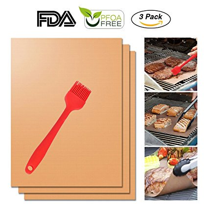 Copper Grill Mat Set of 3,Non-stick BBQ Grill & Baking Mats - FDA Approved, PFOA Free, Reusable and Easy to Clean - Works on Gas, Charcoal, Electric Grills - 15.75 x 13 inches