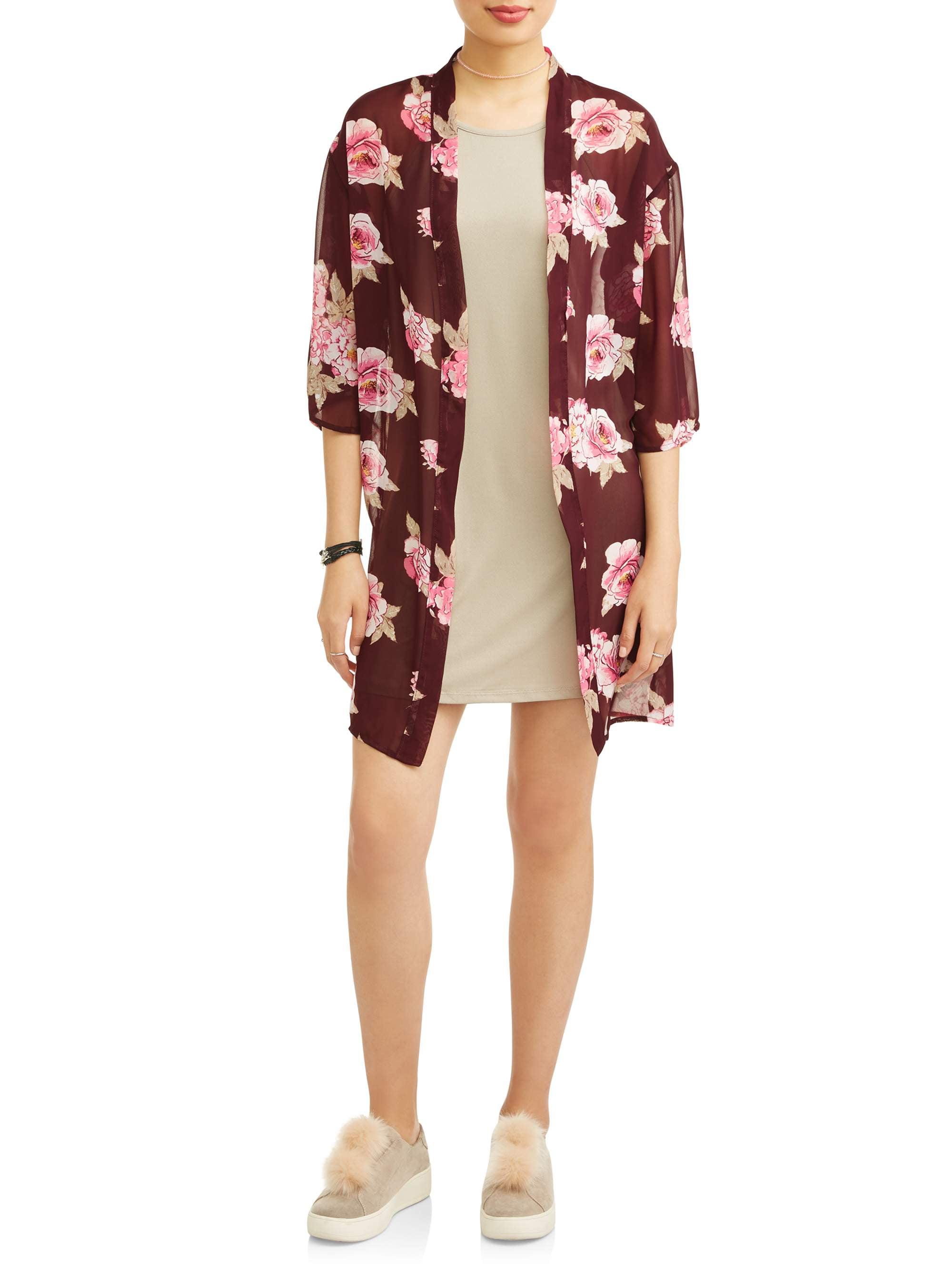 Juniors' Side Slit Kimono 2Fer with Cami Dress